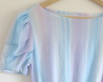 Vintage 1980s dress pastel rainbow party prom ruffle dress purple blue pink white retro stripe mermaid ruffled sleeves 80s seapunk size 10