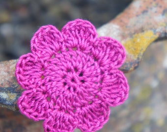 five purple flower - Crochet Applique Flowers -