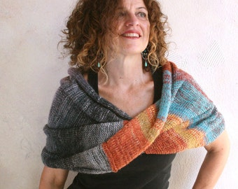 Blanket scarves / OOAK knit handmade scarf / Infinity shawl wrap / Bulky mohair shawl - Park Guell