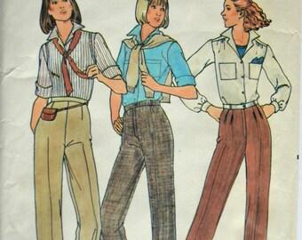 Uncut 1980s Butterick Vintage Sewing Pattern 6316, Size 14; Misses' Pants
