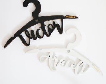Model bride and groom name hangers
