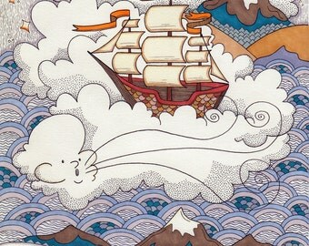 Open Air/Open Water Cloud Ship Illustration Art Print