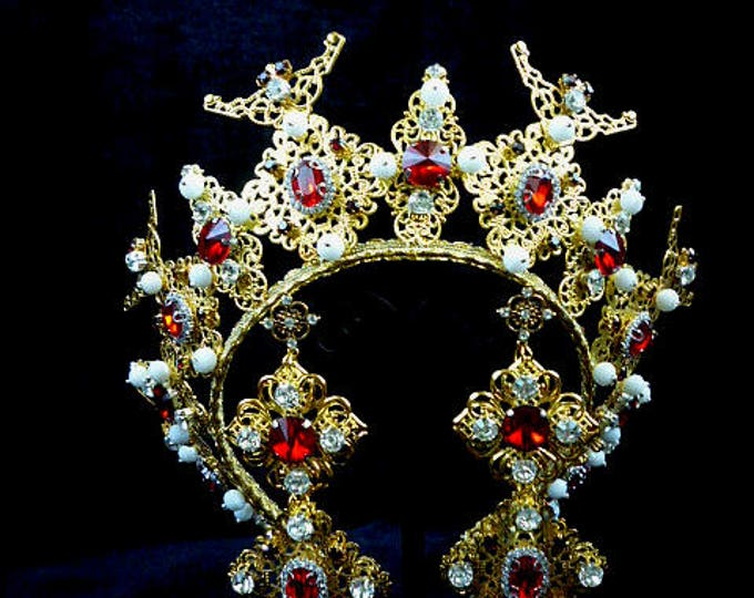 Gold Red crystals White Crown couture Earrings trifari Tiara Diadem Royal Wedding Jewelry Set Bridal pageant Birthday gold and red party