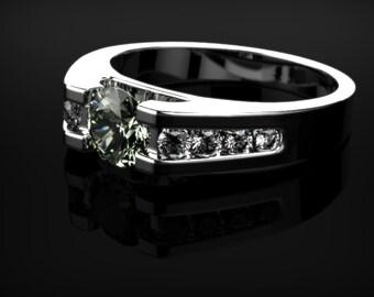 White Gold Prasiolite Ring Prasiolite Engagement Ring Green Amethyst Engagement Ring Gemstone Green Amethyst Ring Unique Engagement Ring