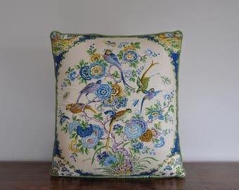 VTG. Accent Floral Bird Pillow - Bird Mural - Painted Birds