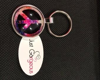 Pink Tie Dye Peace Symbol Keyring/Necklace