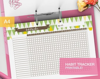 Daily Habit tracker printable - bullet journal inserts - goal tracker - monthly habits - weekly task tracker - tracker PDF - v2