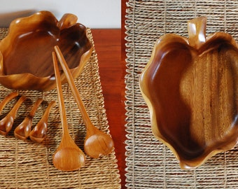 Mid Century Monkey Pod Taro Leaf Salad Bowl, Tongs, Spoons: Mid Century Wood Salad Bow, Hawaiian Salad Bowl by Harry's Cabinet & Curio