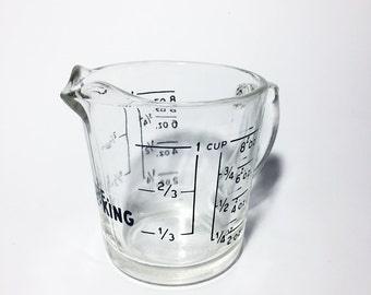 Vintage Fire King Measuring Glass Cup, w/ Handle & Spout. Blue. Kitchen Kitchenware Cooking Baking Measure. 1 cup, 8 oz. Made in USA.