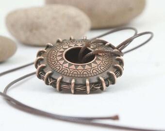 Copper jewelry Unique pendant Ethnic Pendant  Boho pendant Gift for mom Copper pendant Gift for women Boho style Moon jewelry Mother jewelry
