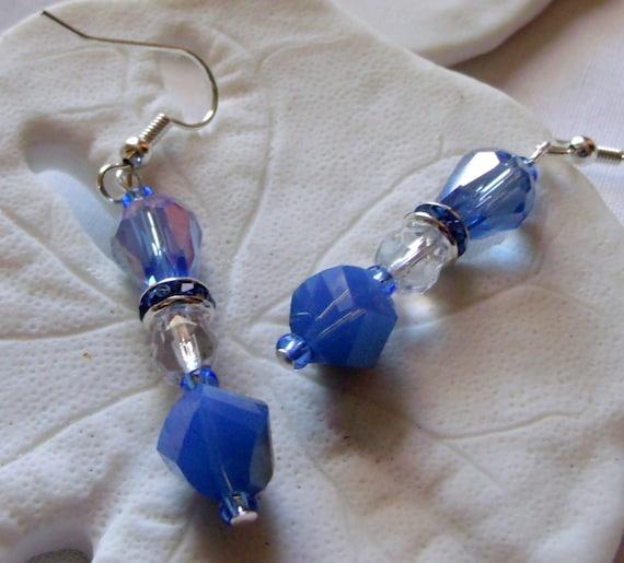 Earrings teardrop blue crystal,rhinestone spacer, dangle earrings , blue metallic finish/ romantic style,  set with glass pedestal dish
