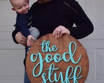 The Good Stuff Wood Sign//Wood Sign Home Decor//3D Wood Sign//Wood Cut Outs//Wood Sign