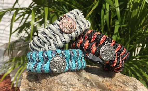 Buffalo Nickle Paracord Bracelet, brass or antique silver buffalo nickle charm,  also with the whistle buckle