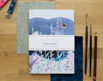 Moorland Heather Set of 2 A5 Notebooks | Lined Pages | Recycled Paper | Designed in Yorkshire | Made in the UK