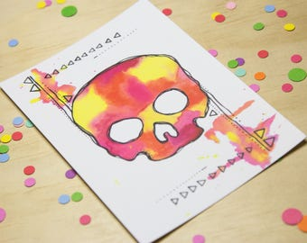 Watercolour Skull Postcard in Pink, Yellow and Orange