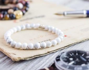 6mm - White howlite beaded stretchy bracelet, made to order yoga bracelet, mens bracelet, beaded womens bracelet, white bead bracelet