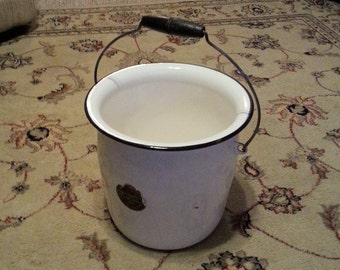 Antique Lisk Porcelain Enameled Ware Flintstone Chamber Pot Kettle