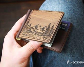 Money Clip Wallet Leather Money Clip Wallet Minimalist Mens Wallet Money Clip Leather Wallet Slim Wooden Wallet Men gift Mens Money Clip