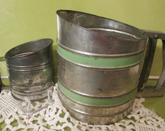 """Flour Sifters--"""" SIFT-CHINE""""  Triple Screens-Old--Green  Stripes -U.S.A.  And  Child Size  Flour Sifter- U.S.A.  -1930 --Both for one Price"""