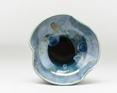 Ring Dish, Jewelry Dish, Trinket Dish, Small Ceramic Bowl, Crystalline Glaze, Blue Bowl