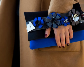Blue purse for women, purse blue gift for her, blue vegan bag, waterproof bag blue, clutch with flowers, blue clutch for her, electric blue