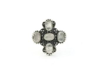 Divine Saint Ring, Sterling Silver Rose Quartz Ring, Stone Jewelry, Gemstone, Boho, Gypsy, Wiccan, Hippie, Spiritual, Cross