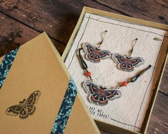 Cecropia Moth Necklace & Earring Set - Acrylic Charm Moth Pendants - Matching Necklace and Earring Handmade Gift Box