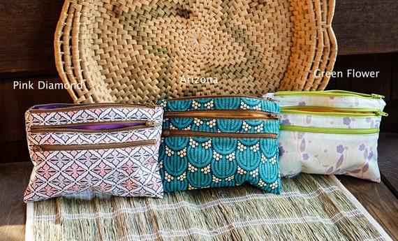 Triple Zipper Pouch -Organic Cotton