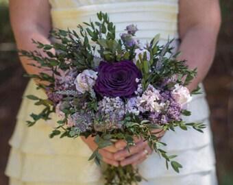 Purple Bouquet | Plum Lavender and Lilac Dried Wedding Flower Bouquet | The Evie Jane Collection