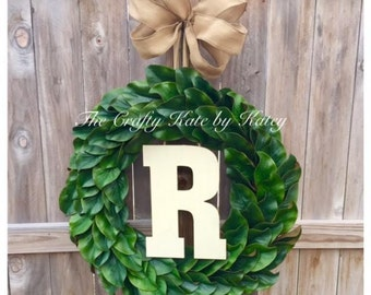Front Door Wreath, Monogram Wreath, Magnolia Wreath, Monogram Magnolia Wreath, Farmhouse Wreath, Magnolia Market, Grapevine Wreath,
