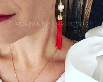 RED Tassel Earrings - pearl, gold, beaded, party jewelry, dressy, red, white and blue, pearl earrings