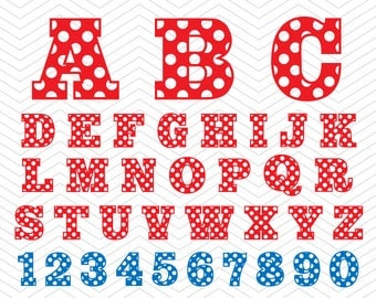 Sports Alphabet Polka dot Letters Numbers SVG PNG DXF eps, baseball college Font, Vinyl Decal Cut File Cricut Design Silhouette studio