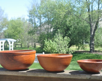 530 Incredible Nested Cherry Wood Salad or Fruit bowls (Set of three)