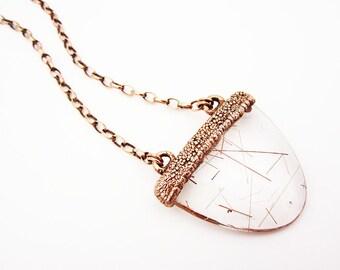 Rutilated Quartz Necklace | Rutile Quartz Pendant | Polished Clear Quartz Blade With Rutile Inclusions | Red Rutile Included Quartz | Copper