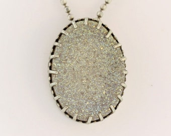 Vintage Victorian Frosted Resin Oval Crystal- Sterling Silver