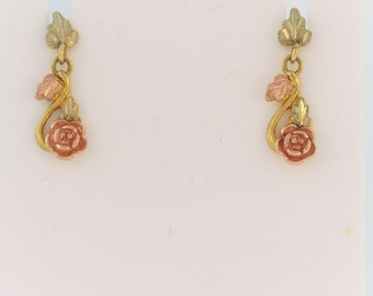 Rose Flower Dangle Earrings in 10k Yellow and Rose Gold - Valentine's Day Special
