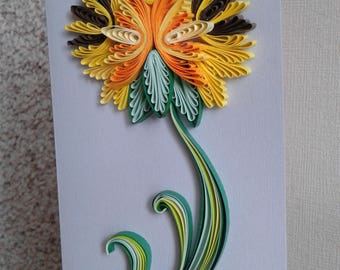 Quilling greeting card handmade Quilled paper 3d card Quilled flowers Quilling picture Quilling patterns Birthday card