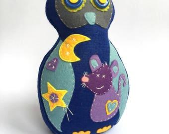 Handmade Toy Felt Blue Owl Decor, Hand Sewn Owl, Children Room Decor, Decorative Owl, Handmade Birds, Home Decor, Owl For Home, Interior Owl