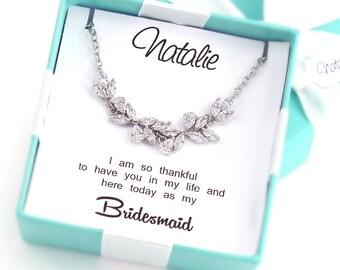 Wedding Necklace Bridesmaid necklace Platinum Zirconia Necklace Wedding Jewelry Bridesmaid gifts Bridesmaid Jewelry Bridal Necklace leaf