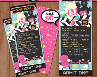Movie Night Birthday Invitation-Self-Editing PINK Movie Night Party Invite-Printable Movie Night Invite-Movie Time-Movie Party-Movie Ticket