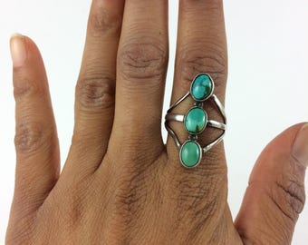 Blue Green Turquoise Ring Sterling Size 8