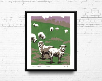 Hand Pulled Lino Print, 'Sheep', Limited Edition Linoleum Print, 8x10 Landscape Print, Linocut Print on Archival Paper, Sheep in a Field