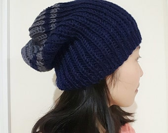 Slouchy Ribbed Beanie / convertible beanie / Dark blue and Grey