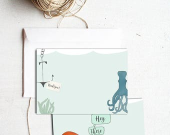 Ocean Theme Kids Thank You Cards - 5x7 Kids Birthday, Personalized Kids Thank You Note with Octopus Art, Octopus Print FREE SHIPPING
