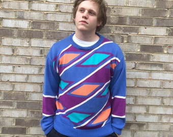 1 DOLLAR SHIPPING // Vintage Colours Blue Sweater
