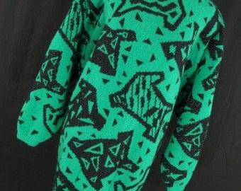 Vintage 80s Pasta Sweater M Medium Tunic Green Black Crew Neck Geometric Long Metallic Womens Woman L/S M3