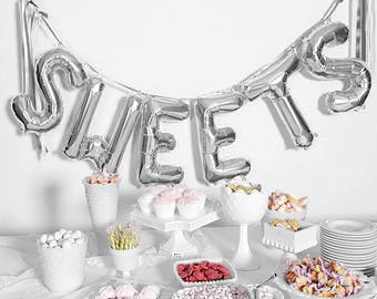 "SWEETS Letter Balloons | 16"" Silver Letter Balloons 