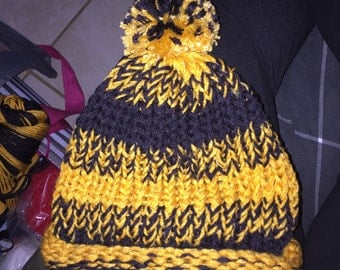 Kids Black and Gold knit Hat with Pom