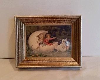 Framed Wall Art, Home Decor, Fairy Tale Motif, Swans, Children, Nursery Art