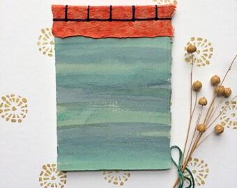 Handmade Notebook, Japanese Stab Binding Book, Blue & Orange Notebook, Pocket Book, Handmade Journal, Handmade Book, Watercolor Notebook